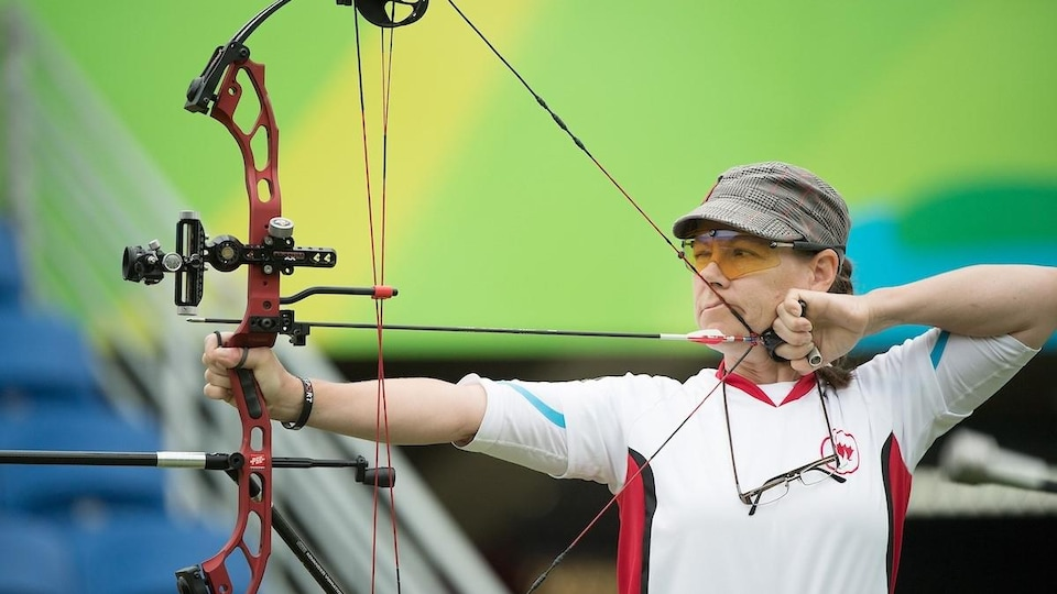 Karen Van Nest in a shooting competition.