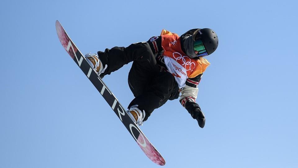 Laurie Blouin en plein saut lors des Jeux olympiques de 2018