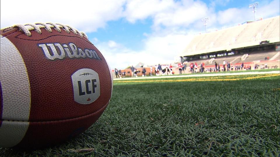 Gros plan d'un ballon de football posé sur le gazon d'un terrain avec les gradins en arrière-plan.
