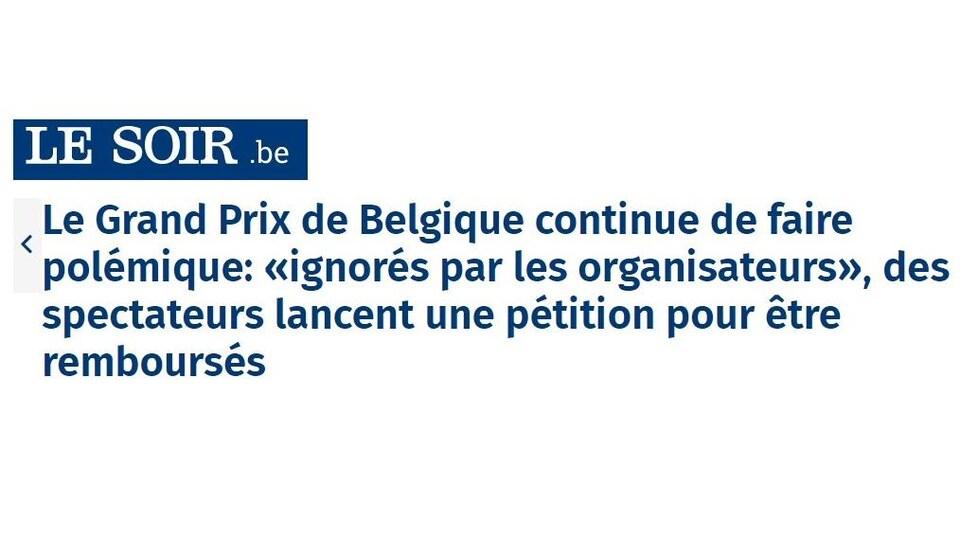 La Une du journal Le Soir de Belgique