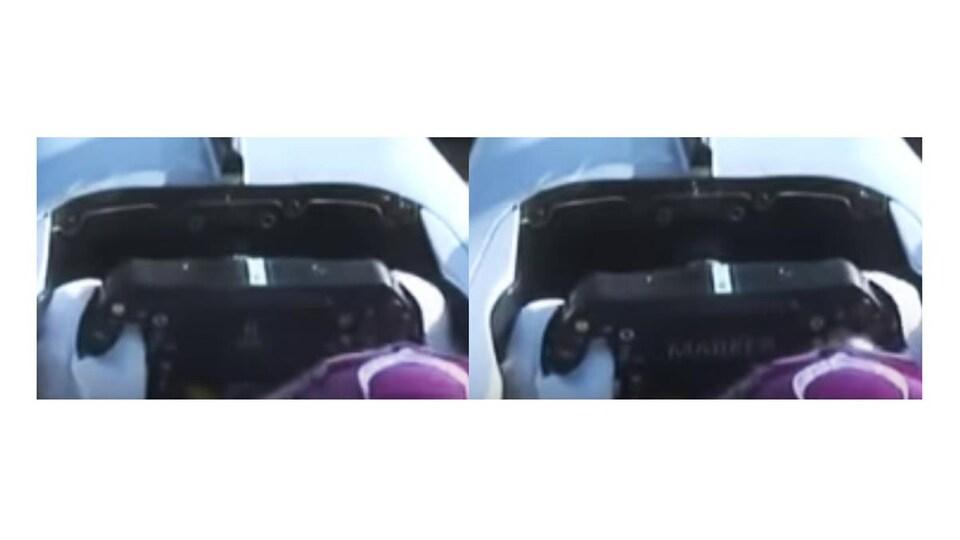 On voit l'écart entre le volant et le tableau de bord augmenter.