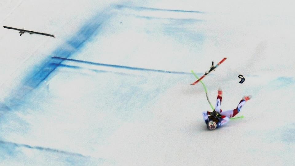 La chute de Marc Gisin à Val Gardena