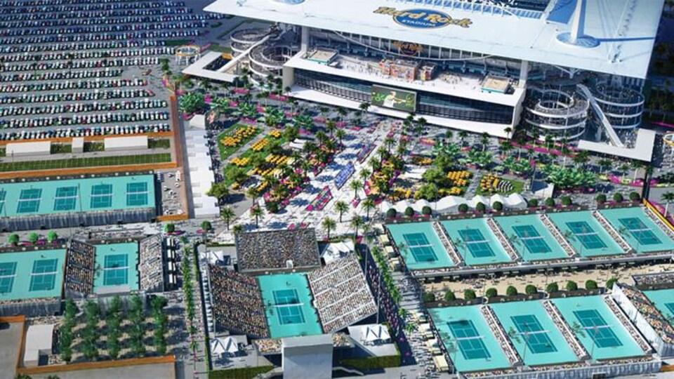 Le complexe de tennis du tournoi de Miami, autour du stade de football des Dolphins