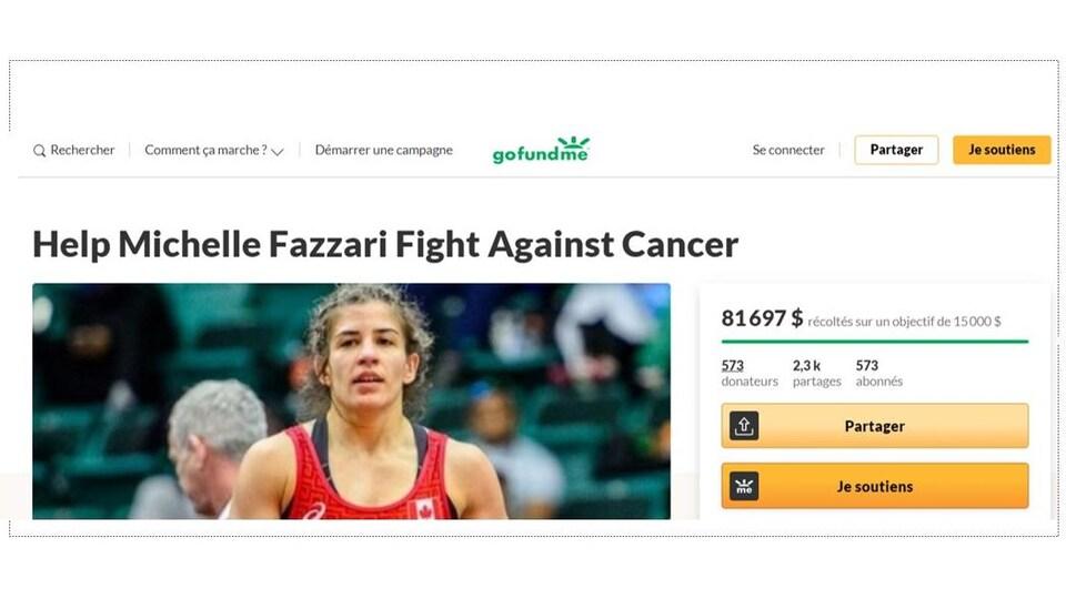La page de la campagne de financement GoFundMe créée par Stephanie Fazzari pour sa sœur Michelle