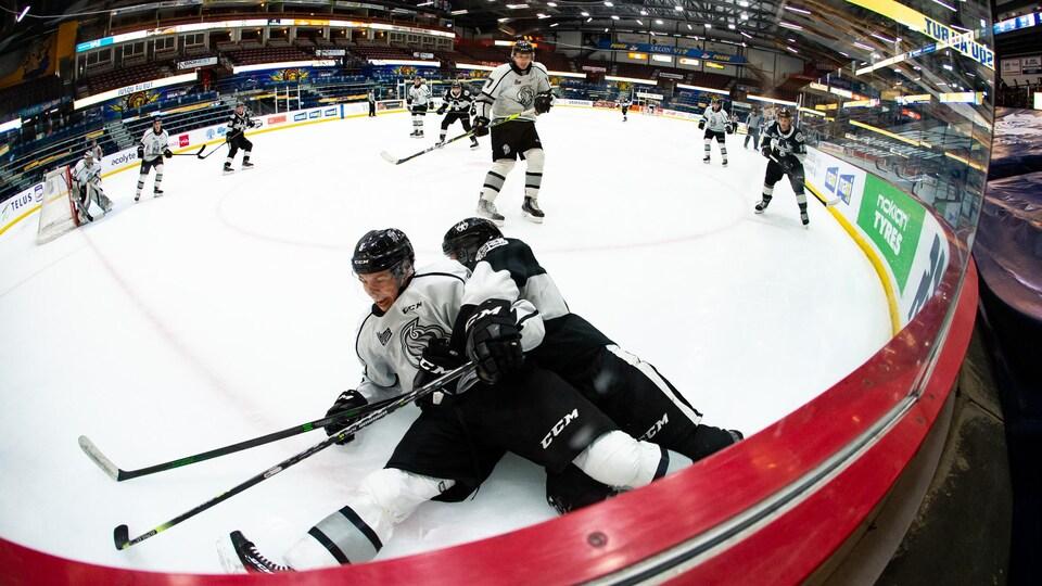 Deux joueurs de hockey luttent pour la rondelle sur la glace.