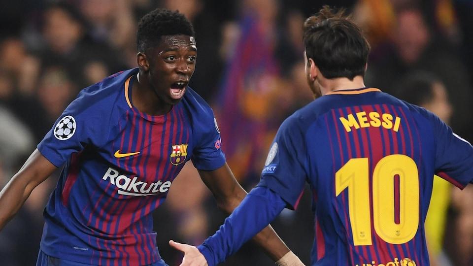 Ousmane Dembélé et Lionel Messi