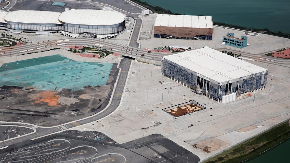 Vue aérienne du Parc olympique, 6 mois après les Jeux olympiques de Rio