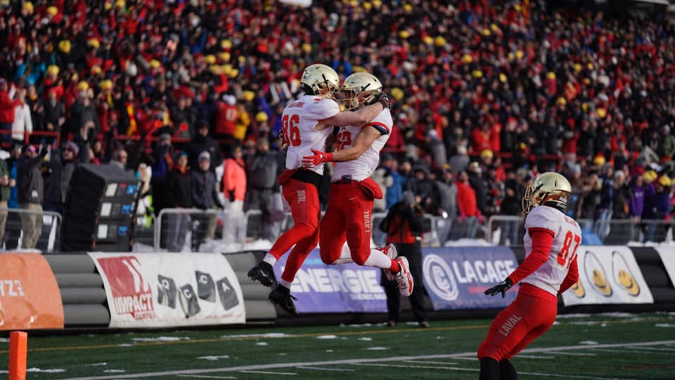 Des joueurs du Rouge et Or de l'Université Laval célèbrent un touché.