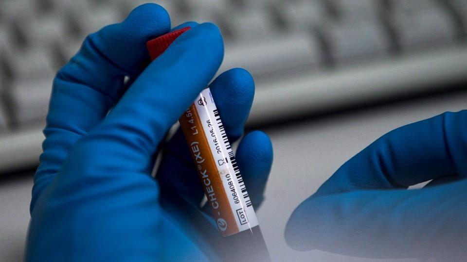 Des mains manipulent l'éprouvette dans un laboratoire.