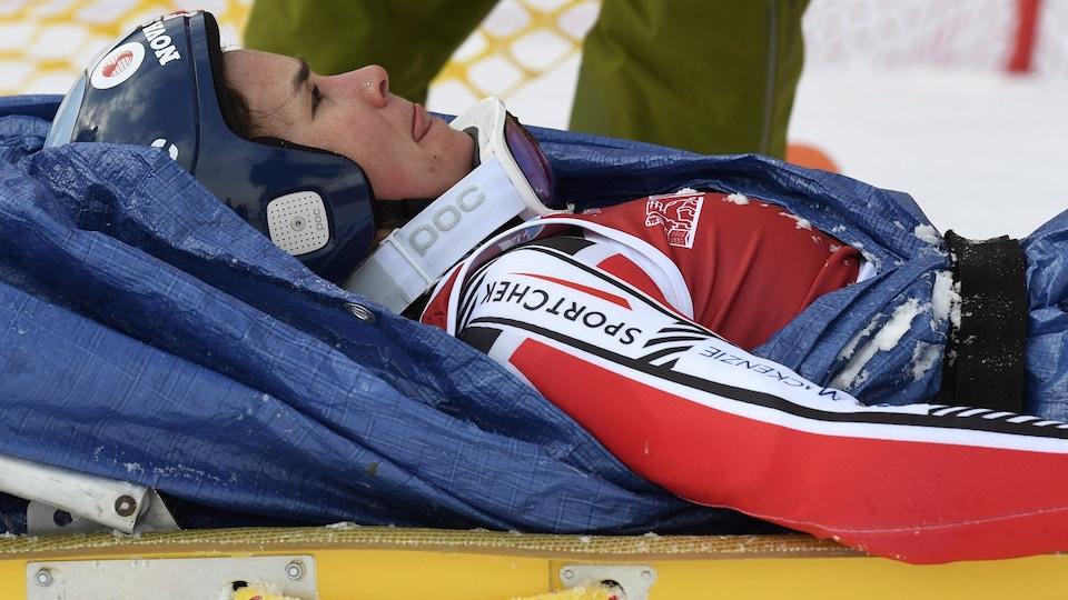 La Québécoise Marie-Michèle Gagnon a chuté lors de la manche finale de la descente d'entraînement en vue de la Coupe du monde de Lake Louise.