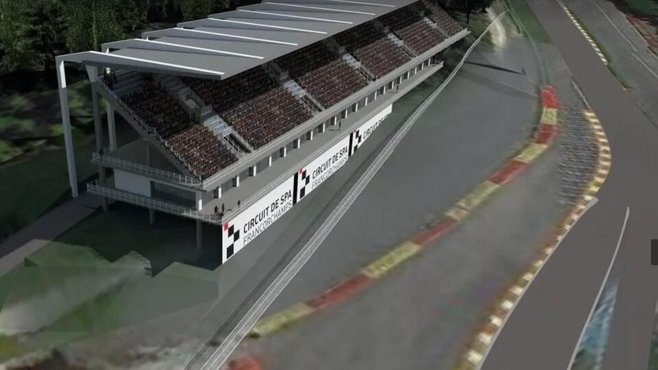 Une grosse tribune au bord du circuit de Spa-Francorchamps