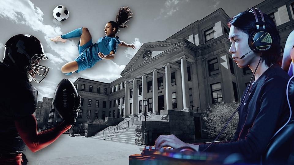 Montage graphique montrant un joueur de football, une joueuse de soccer et un adepte des jeux vidéos autour d'un pavillon universitaire.