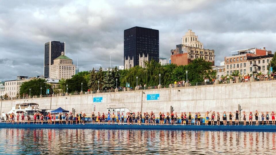 Des triathloniens s'apprêtent à prendre le départ à la nage en 2016.