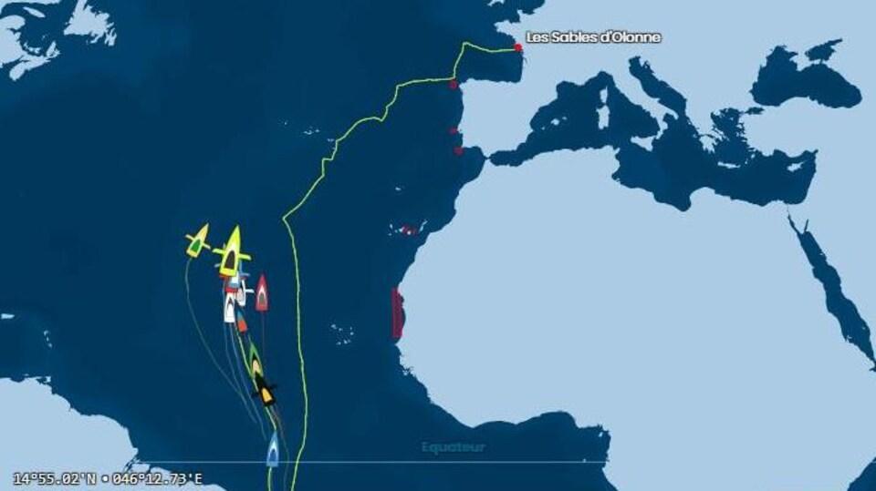 Carte montrant la position des bateaux du Vendée Globe