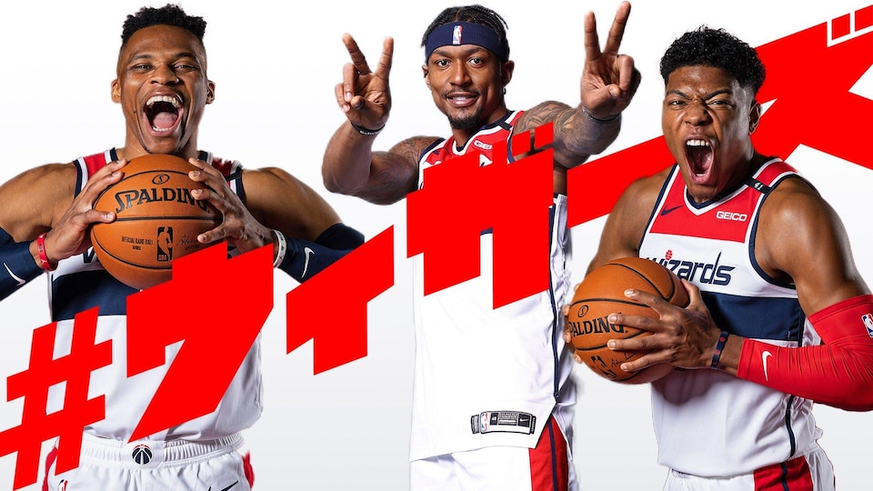 Three Washington Wizards basketball players are featured in a Japanese-language infographic of the team.