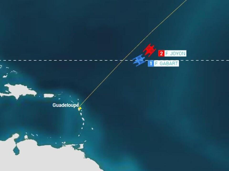 La position des bateaux samedi 10 novembre, à 24 heures de l'arrivée de la Route du Rhum