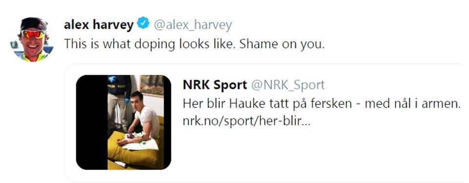 Le message d'Alex Harvey sur Twitter