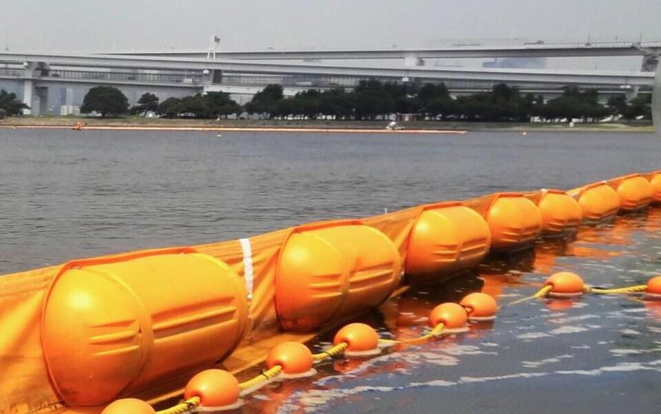 Les filets de protection dans la baie de Tokyo