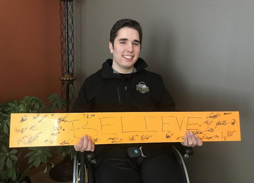 Morgan Gobeil à sa sortie de l'hôpital après 333 jours.