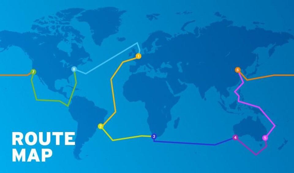 Parcours de la Clipper Round The World Yacht Race 2017-2018