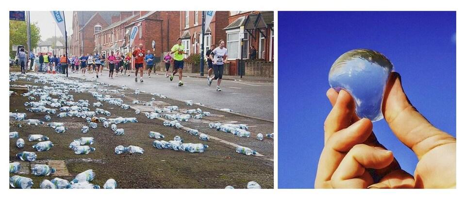 À gauche : de nombreuses bouteilles de plastique au sol. À droite, quelqu'un tient dans sa main une gélule d'eau.