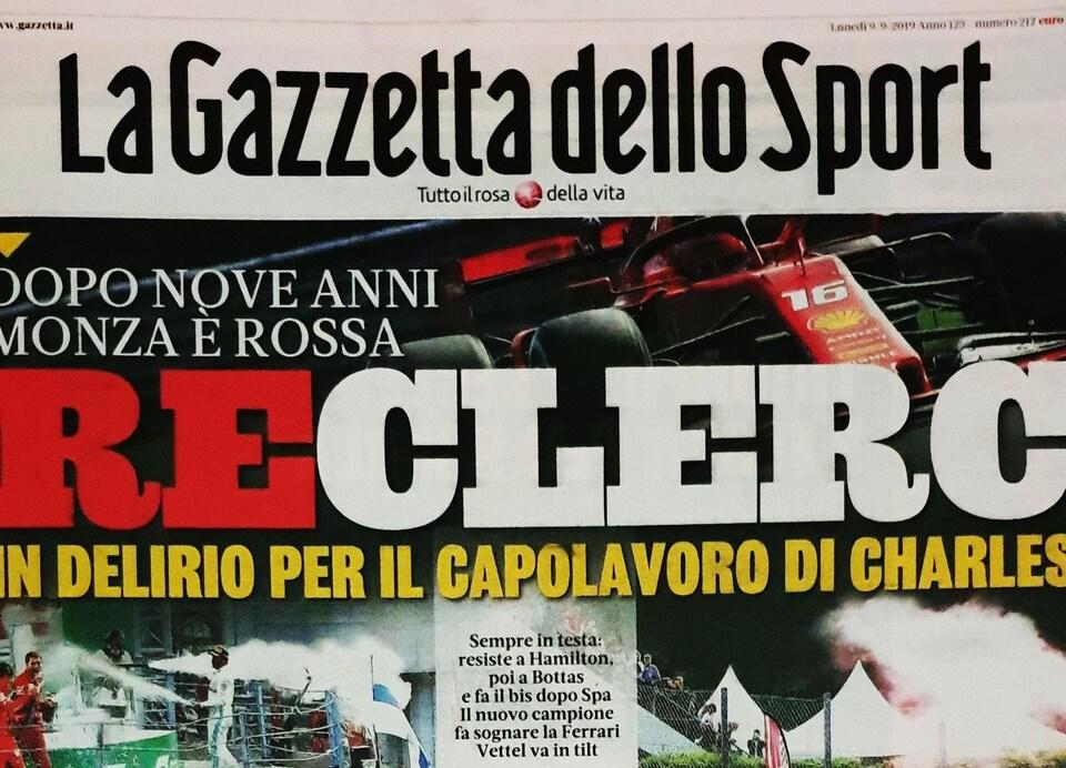 Charles Leclerc en Une de la Gazzetta dello sport au lendemain de sa victoire au Grand Prix d'Italie à Monza