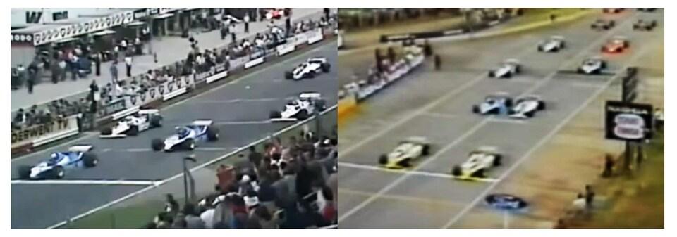 Les grilles de départ du Grand Prix de Grande-Bretagne (à gauche) et du Grand Prix d'Afrique du Sud en 1980.