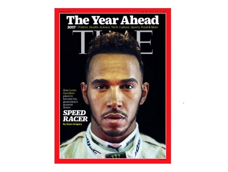 Une photo du magazine TIME sur lequel figure en une Hamilton.
