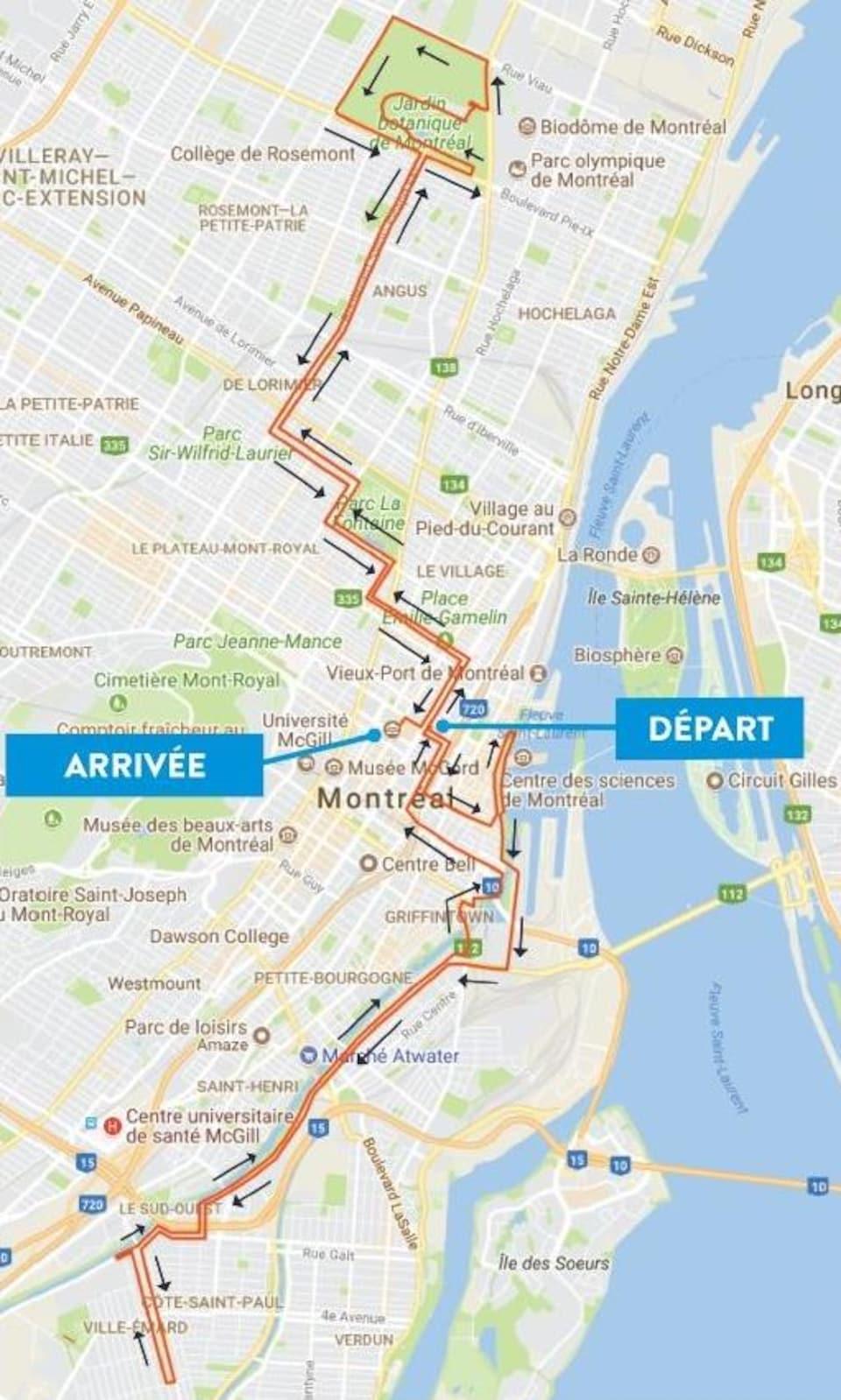 Le tracé du marathon de Montréal de 2018