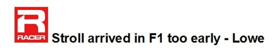 Le titre de l'article de Racer sur Lance Stroll