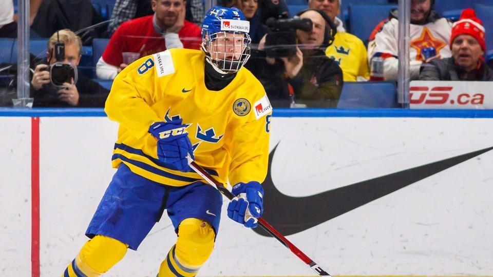 Rasmus Dahlin, pendant le Championnat du monde de hockey junior, à Buffalo, en décembre 2017
