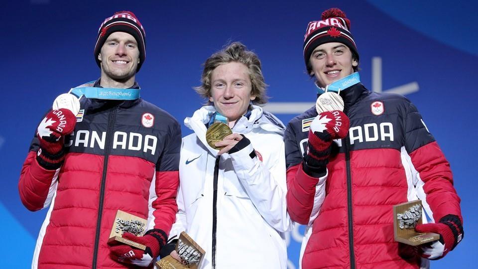 Surf des neiges slopestyle hommes Max Parrot, Redmond Gerard et Mark McMorris
