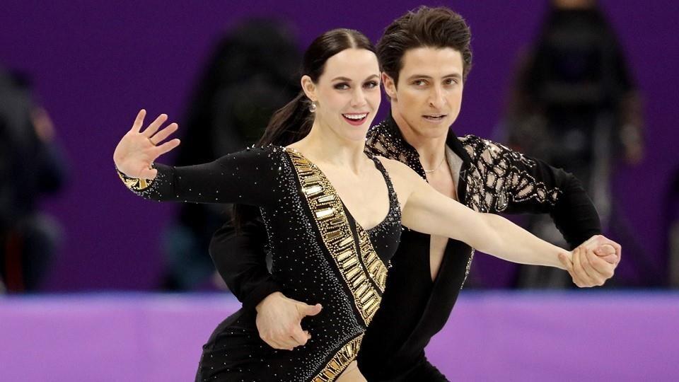 Tessa Virtue et Scott Moir lors de la présentation de leur danse courte aux JO de Pyeongchang