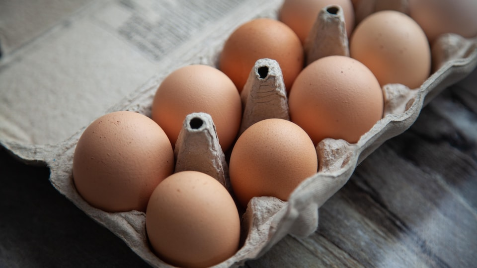 Une douzaine d'œufs bruns.