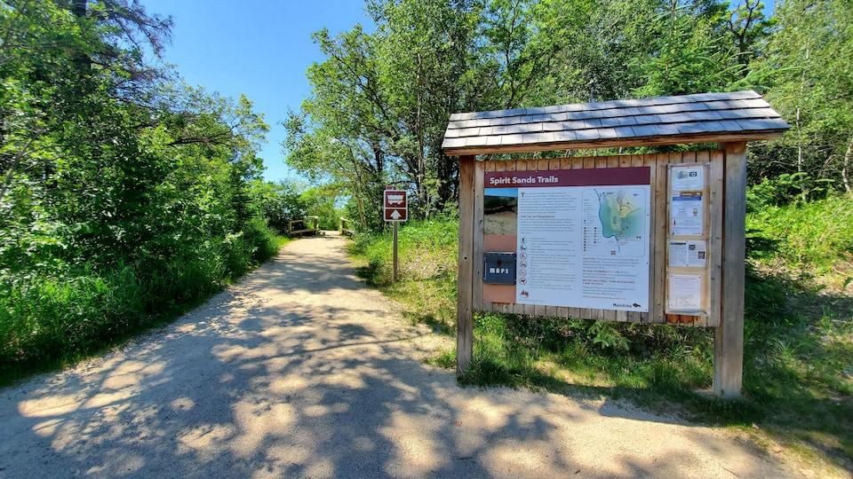 Le panneau d'entrée du sentier.
