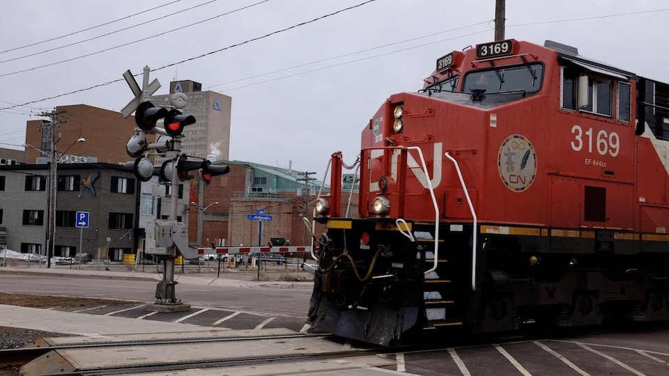Une locomotive à un passage à niveau