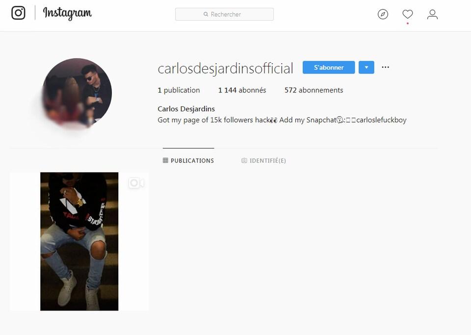 Le compte Instagram de Carlos Desjardins a été dépouillé de presque toutes ses publications