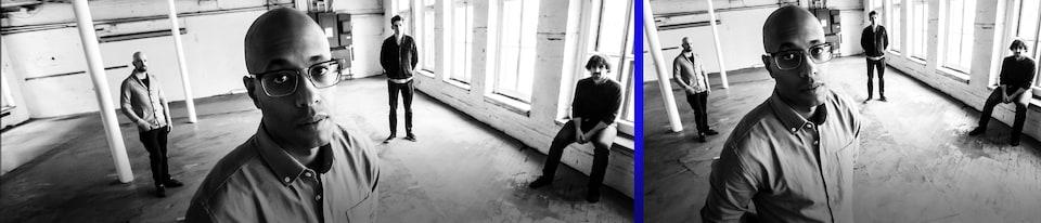 Le rappeur Webster pause dans un immeuble industriel vacant en compagnie des membres du 5 For Trio (Sylvain St-Onge, Jean-François Gingras et Mathieu Rancourt).