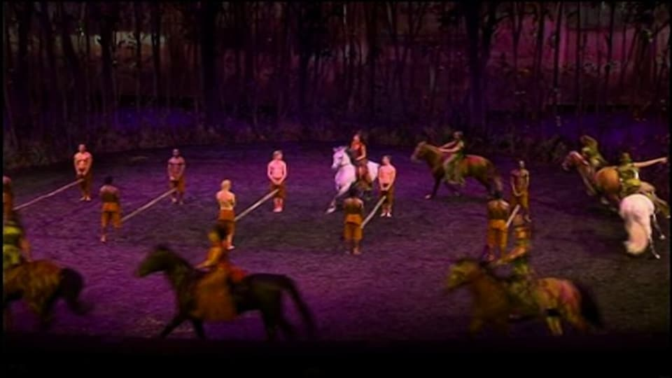 Des chevaux et des artistes sur scène dans le cadre du spectacle «Odysseo».
