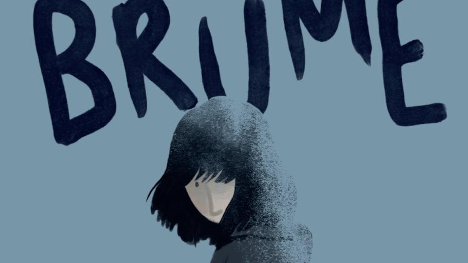 Couverture du livre. On y voit le titre de la bédé avec le dessin d'une jeune femme qui marche dans le brouillard.