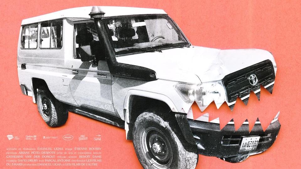 Un véhicule 4x4 dont le capot avant se sépare comme une mâchoire de requin.