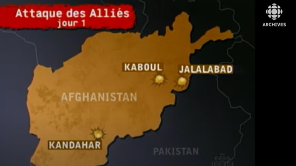 Carte de l'Afghanistan présentée à l'émission spéciale sur les ondes de RDI le premier jour de l'opération Liberté immuable.
