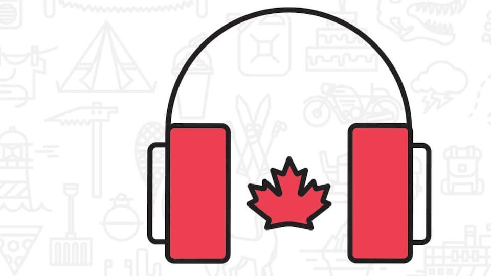 Un dessin de casque d'écoute formé par un drapeau canadien