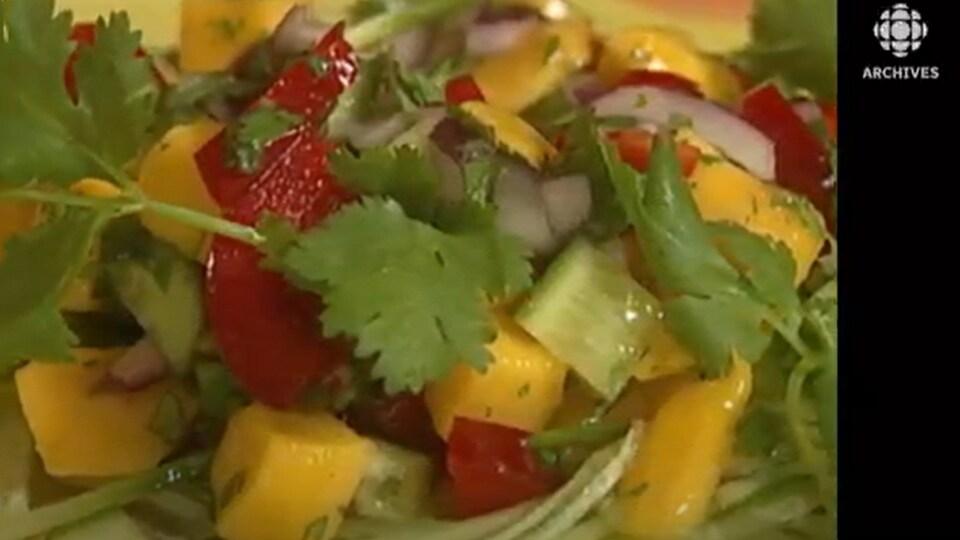 Salade de poivrons mangues et coriandre