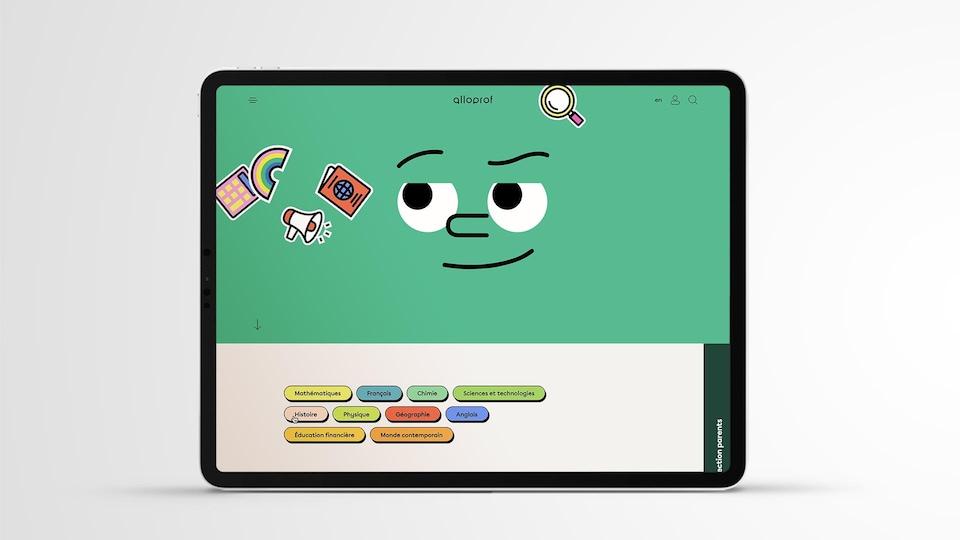L'écran d'une tablette où l'on voit deux yeux, un nez et une bouche . S'animent à  côté une calculatrice et un livre et une loupe. On retrouve aussi  des onglets pour la navigation sous le visage.