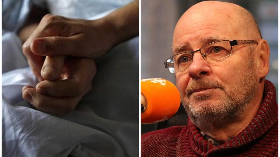 Collage avec d'un côté une main qui en tient une autre sur un lit d'hôpital et de l'autre un homme portant des lunettes de vue et qui se tient devant un micro.