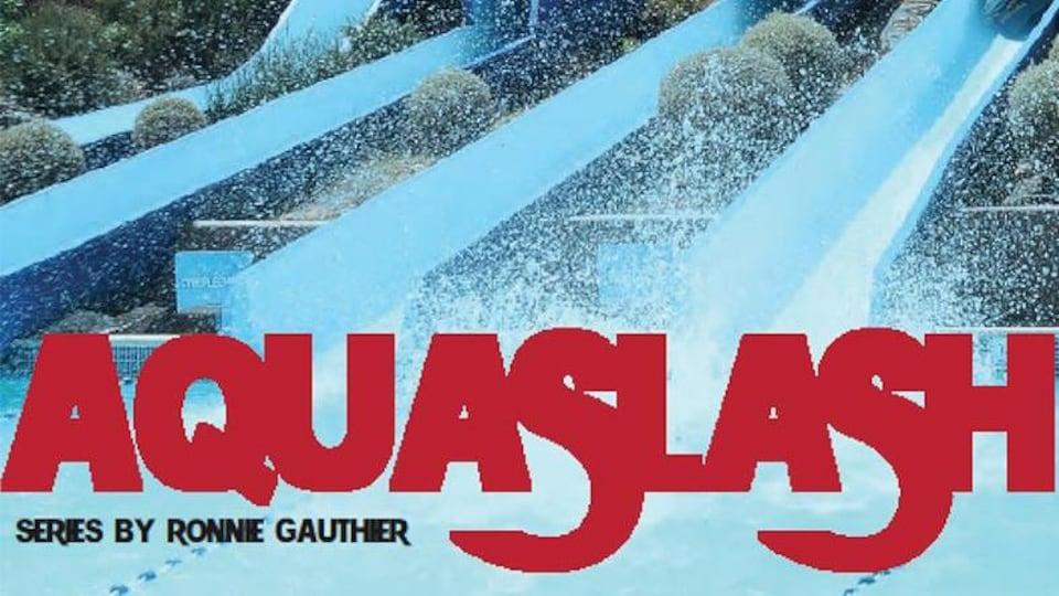 Affiche de film montrant des glissades d'eau avec une esthétique des années 80.
