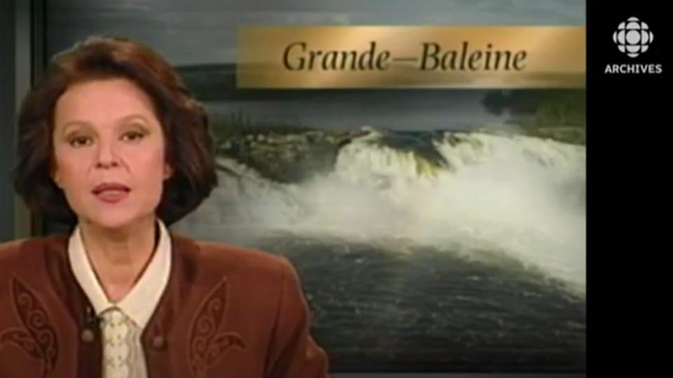 L'animatrice Michèle Viroly présente le reportage sur l'annulation du projet de Grande-Baleine le 18 novembre 1994.