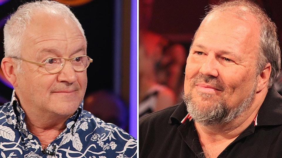 Deux images en plan rapproché des deux hommes grisonnants prises sur des plateaux de télévision.