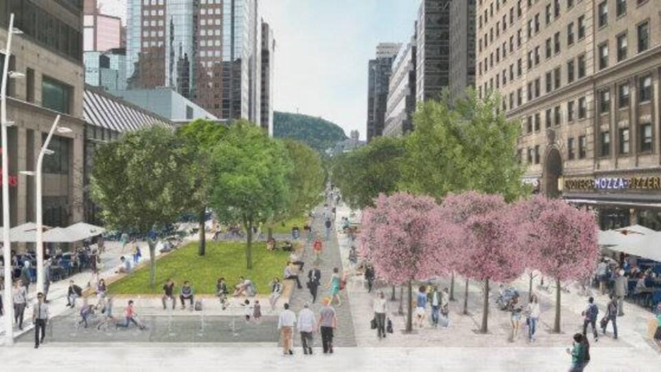Illustration montrant l'avenue McGill College couverte de piétons et d'arbres.
